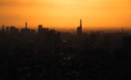 東山スカイタワーからの夕日
